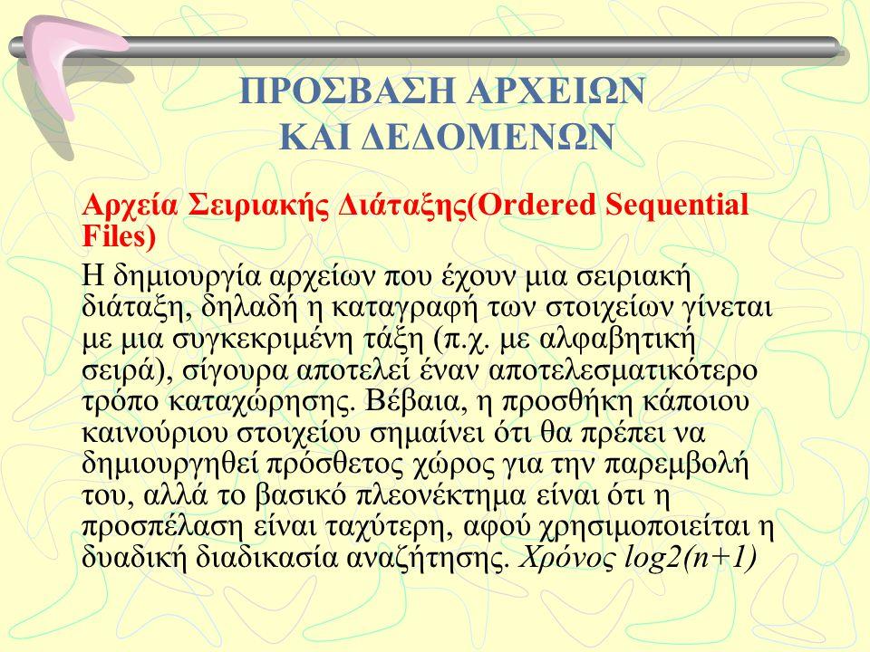 ΠΡΟΣΒΑΣΗ ΑΡΧΕΙΩΝ ΚΑΙ ΔΕΔΟΜΕΝΩΝ Αρχεία Σειριακής Διάταξης(Ordered Sequential Files) Η δημιουργία αρχείων που έχουν μια σειριακή διάταξη, δηλαδή η καταγ