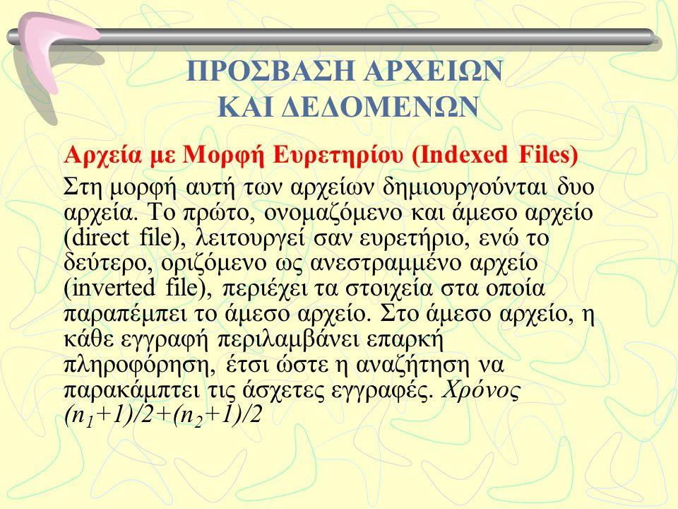 ΠΡΟΣΒΑΣΗ ΑΡΧΕΙΩΝ ΚΑΙ ΔΕΔΟΜΕΝΩΝ Αρχεία με Μορφή Ευρετηρίου (Indexed Files) Στη μορφή αυτή των αρχείων δημιουργούνται δυο αρχεία. Το πρώτο, ονομαζόμενο