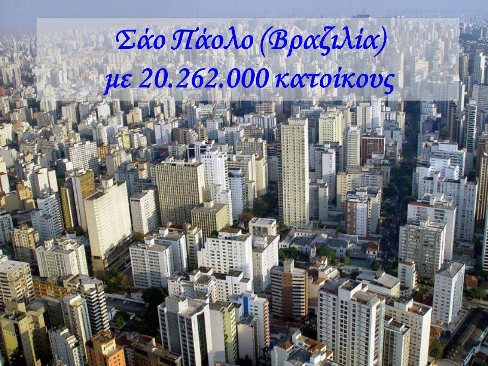 Βομβάη (Ινδία) με 20.041.000 κατοίκους