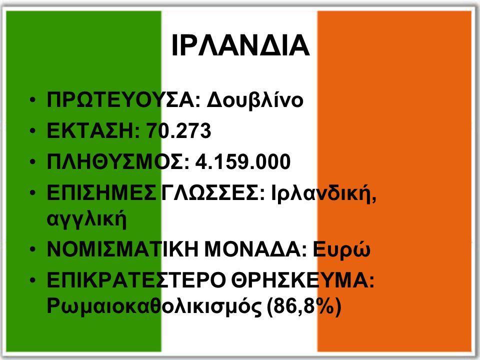 ΙΡΛΑΝΔΙΑ ΠΡΩΤΕΥΟΥΣΑ: Δουβλίνο ΕΚΤΑΣΗ: 70.273 ΠΛΗΘΥΣΜΟΣ: 4.159.000 ΕΠΙΣΗΜΕΣ ΓΛΩΣΣΕΣ: Ιρλανδική, αγγλική ΝΟΜΙΣΜΑΤΙΚΗ ΜΟΝΑΔΑ: Ευρώ ΕΠΙΚΡΑΤΕΣΤΕΡΟ ΘΡΗΣΚΕΥΜ