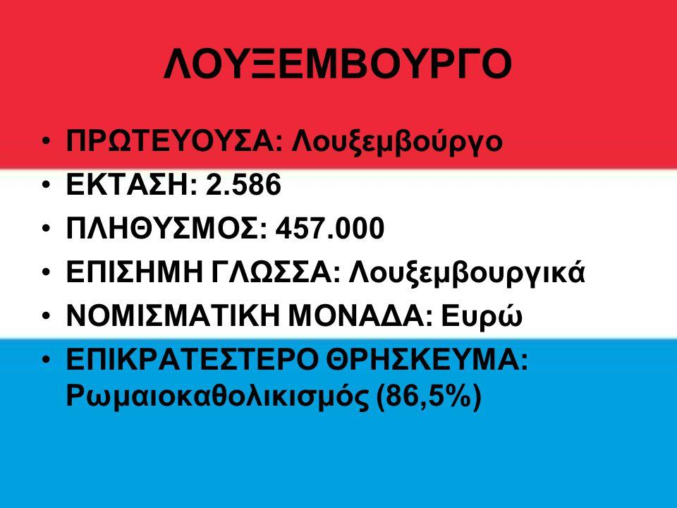 ΛΟΥΞΕΜΒΟΥΡΓΟ ΠΡΩΤΕΥΟΥΣΑ: Λουξεμβούργο ΕΚΤΑΣΗ: 2.586 ΠΛΗΘΥΣΜΟΣ: 457.000 ΕΠΙΣΗΜΗ ΓΛΩΣΣΑ: Λουξεμβουργικά ΝΟΜΙΣΜΑΤΙΚΗ ΜΟΝΑΔΑ: Ευρώ ΕΠΙΚΡΑΤΕΣΤΕΡΟ ΘΡΗΣΚΕΥΜΑ