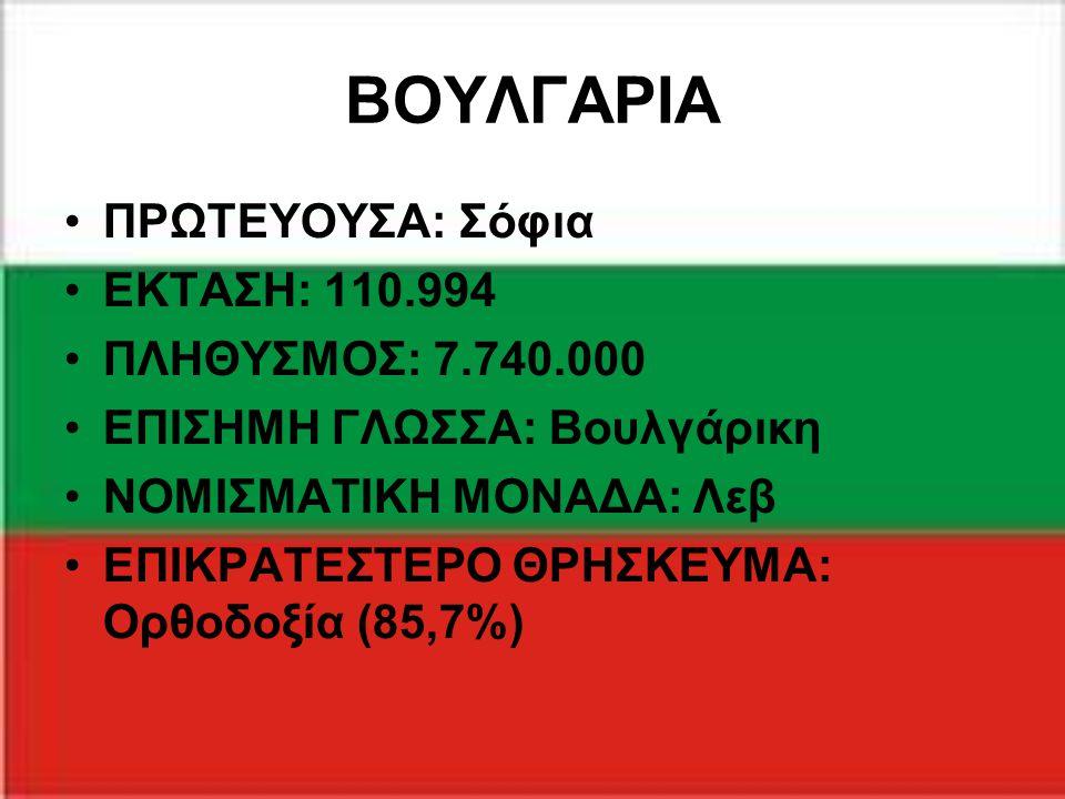 ΒΟΥΛΓΑΡΙΑ ΠΡΩΤΕΥΟΥΣΑ: Σόφια ΕΚΤΑΣΗ: 110.994 ΠΛΗΘΥΣΜΟΣ: 7.740.000 ΕΠΙΣΗΜΗ ΓΛΩΣΣΑ: Βουλγάρικη ΝΟΜΙΣΜΑΤΙΚΗ ΜΟΝΑΔΑ: Λεβ ΕΠΙΚΡΑΤΕΣΤΕΡΟ ΘΡΗΣΚΕΥΜΑ: Ορθοδοξία