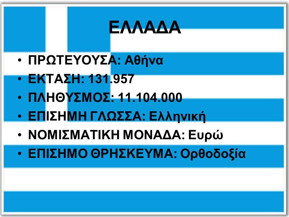 ΕΛΛΑΔΑ ΠΡΩΤΕΥΟΥΣΑ: Αθήνα ΕΚΤΑΣΗ: 131.957 ΠΛΗΘΥΣΜΟΣ: 11.104.000 ΕΠΙΣΗΜΗ ΓΛΩΣΣΑ: Ελληνική ΝΟΜΙΣΜΑΤΙΚΗ ΜΟΝΑΔΑ: Ευρώ ΕΠΙΣΗΜΟ ΘΡΗΣΚΕΥΜΑ: Ορθοδοξία