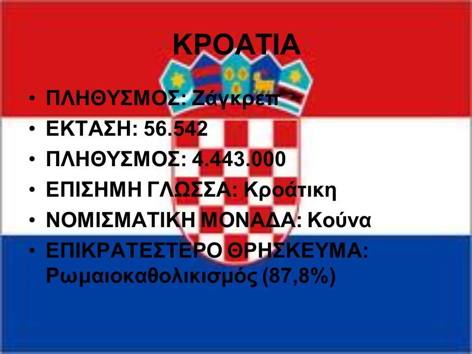ΚΡΟΑΤΙΑ ΠΛΗΘΥΣΜΟΣ: Ζάγκρεπ ΕΚΤΑΣΗ: 56.542 ΠΛΗΘΥΣΜΟΣ: 4.443.000 ΕΠΙΣΗΜΗ ΓΛΩΣΣΑ: Κροάτικη ΝΟΜΙΣΜΑΤΙΚΗ ΜΟΝΑΔΑ: Κούνα ΕΠΙΚΡΑΤΕΣΤΕΡΟ ΘΡΗΣΚΕΥΜΑ: Ρωμαιοκαθολ