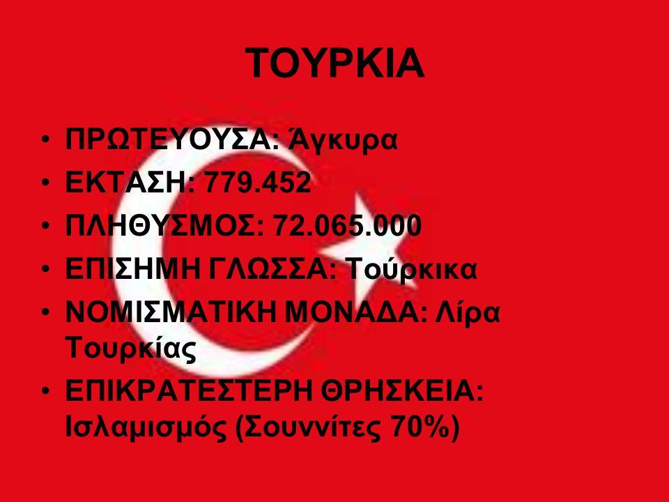 ΤΟΥΡΚΙΑ ΠΡΩΤΕΥΟΥΣΑ: Άγκυρα ΕΚΤΑΣΗ: 779.452 ΠΛΗΘΥΣΜΟΣ: 72.065.000 ΕΠΙΣΗΜΗ ΓΛΩΣΣΑ: Τούρκικα ΝΟΜΙΣΜΑΤΙΚΗ ΜΟΝΑΔΑ: Λίρα Τουρκίας ΕΠΙΚΡΑΤΕΣΤΕΡΗ ΘΡΗΣΚΕΙΑ: Ισ