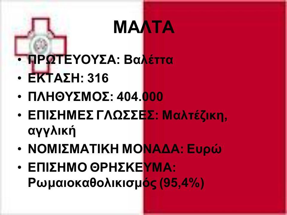 ΜΑΛΤΑ ΠΡΩΤΕΥΟΥΣΑ: Βαλέττα ΕΚΤΑΣΗ: 316 ΠΛΗΘΥΣΜΟΣ: 404.000 ΕΠΙΣΗΜΕΣ ΓΛΩΣΣΕΣ: Μαλτέζικη, αγγλική ΝΟΜΙΣΜΑΤΙΚΗ ΜΟΝΑΔΑ: Ευρώ ΕΠΙΣΗΜΟ ΘΡΗΣΚΕΥΜΑ: Ρωμαιοκαθολι