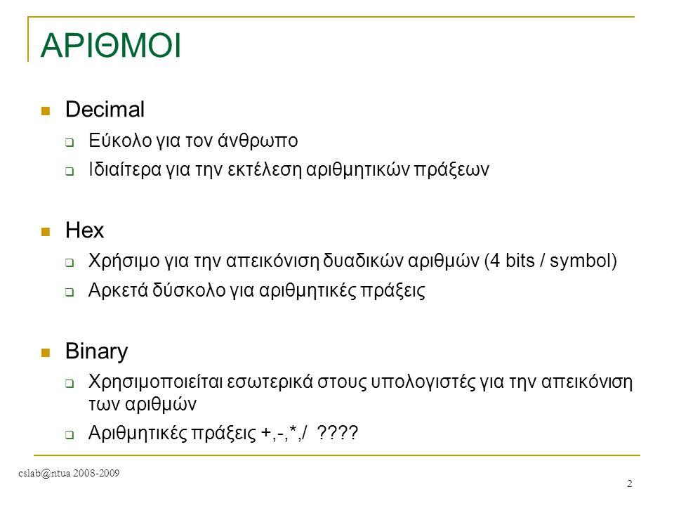 cslab@ntua 2008-2009 2 ΑΡΙΘΜΟΙ Decimal  Eύκολο για τον άνθρωπο  Ιδιαίτερα για την εκτέλεση αριθμητικών πράξεων Hex  Χρήσιμο για την απεικόνιση δυαδ