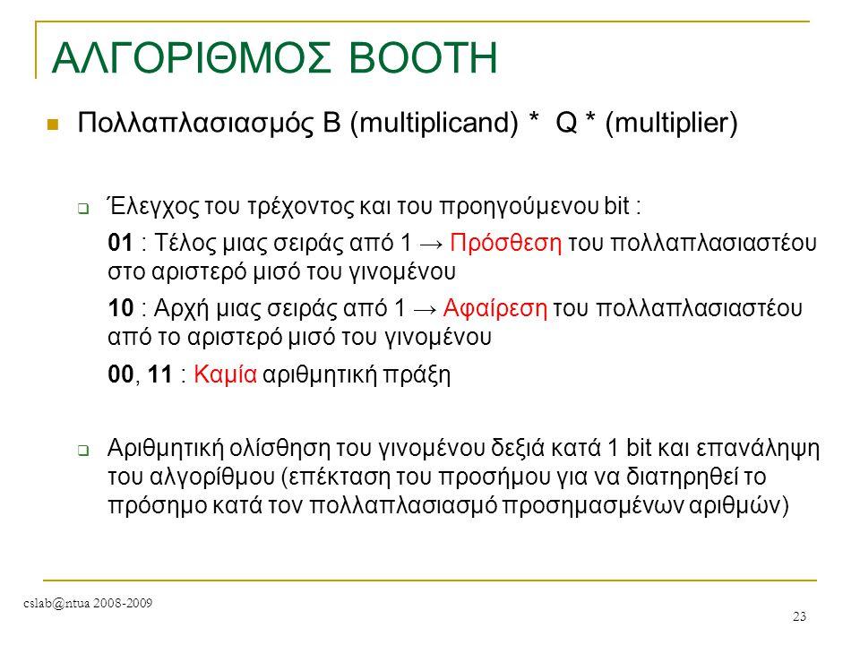 cslab@ntua 2008-2009 23 ΑΛΓΟΡΙΘΜΟΣ BOOTH Πολλαπλασιασμός Β (multiplicand) * Q * (multiplier)  Έλεγχος του τρέχοντος και του προηγούμενου bit : 01 : Τ