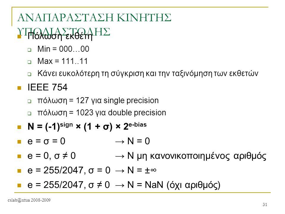 cslab@ntua 2008-2009 31 ΑΝΑΠΑΡΑΣΤΑΣΗ ΚΙΝΗΤΗΣ ΥΠΟΔΙΑΣΤΟΛΗΣ Πόλωση εκθέτη  Min = 000…00  Max = 111..11  Κάνει ευκολότερη τη σύγκριση και την ταξινόμη