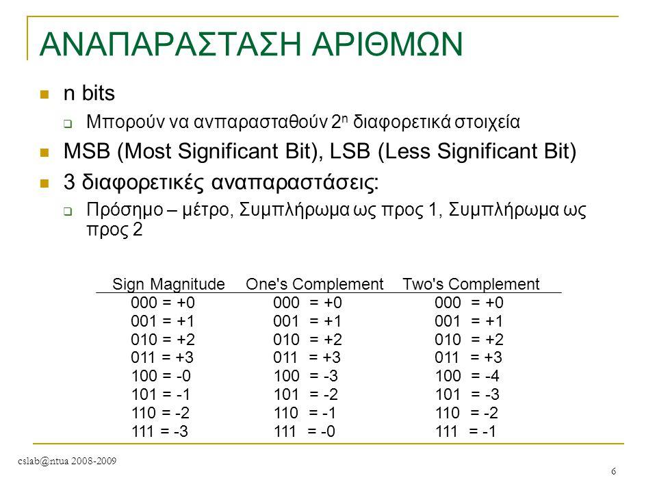 cslab@ntua 2008-2009 6 ΑΝΑΠΑΡΑΣΤΑΣΗ ΑΡΙΘΜΩΝ n bits  Μπορούν να ανπαρασταθούν 2 n διαφορετικά στοιχεία MSB (Most Significant Bit), LSB (Less Significa