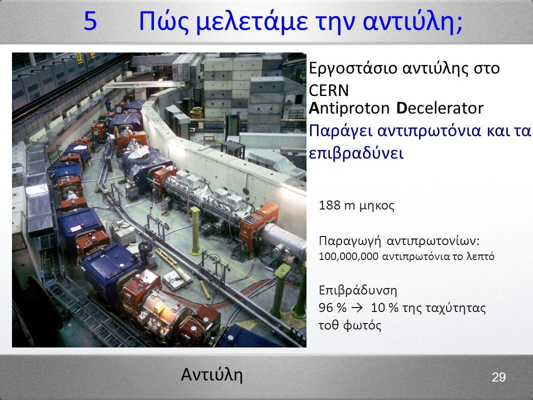 Αντιύλη 29 188 m μηκος Παραγωγή αντιπρωτονίων: 100,000,000 αντιπρωτόνια το λεπτό Επιβράδυνση 96 % → 10 % της ταχύτητας τοθ φωτός Εργοστάσιο αντιύλης στο CERN Antiproton Decelerator Παράγει αντιπρωτόνια και τα επιβραδύνει 5 Πώς μελετάμε την αντιύλη;