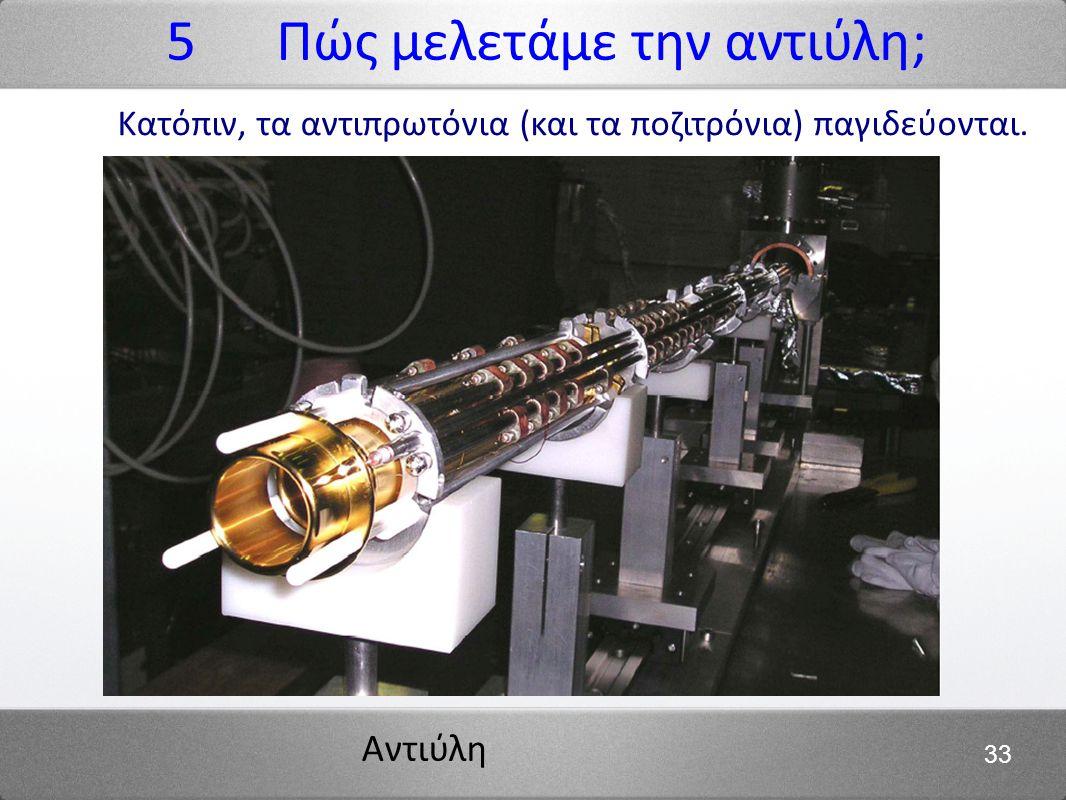 Αντιύλη 33 Κατόπιν, τα αντιπρωτόνια (και τα ποζιτρόνια) παγιδεύονται. 5 Πώς μελετάμε την αντιύλη;
