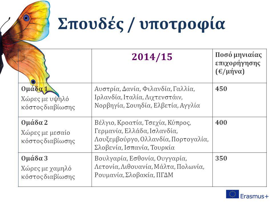 2014/15 Ποσό μηνιαίας επιχορήγησης (€/μήνα) Ομάδα 1 Χώρες με υψηλό κόστος διαβίωσης Αυστρία, Δανία, Φιλανδία, Γαλλία, Ιρλανδία, Ιταλία, Λιχτενστάιν, Νορβηγία, Σουηδία, Ελβετία, Αγγλία 450 Ομάδα 2 Χώρες με μεσαίο κόστος διαβίωσης Βέλγιο, Κροατία, Τσεχία, Κύπρος, Γερμανία, Ελλάδα, Ισλανδία, Λουξεμβούργο, Ολλανδία, Πορτογαλία, Σλοβενία, Ισπανία, Τουρκία 400 Ομάδα 3 Χώρες με χαμηλό κόστος διαβίωσης Βουλγαρία, Εσθονία, Ουγγαρία, Λετονία, Λιθουανία, Μάλτα, Πολωνία, Ρουμανία, Σλοβακία, ΠΓΔΜ 350 Σπουδές / υποτροφία