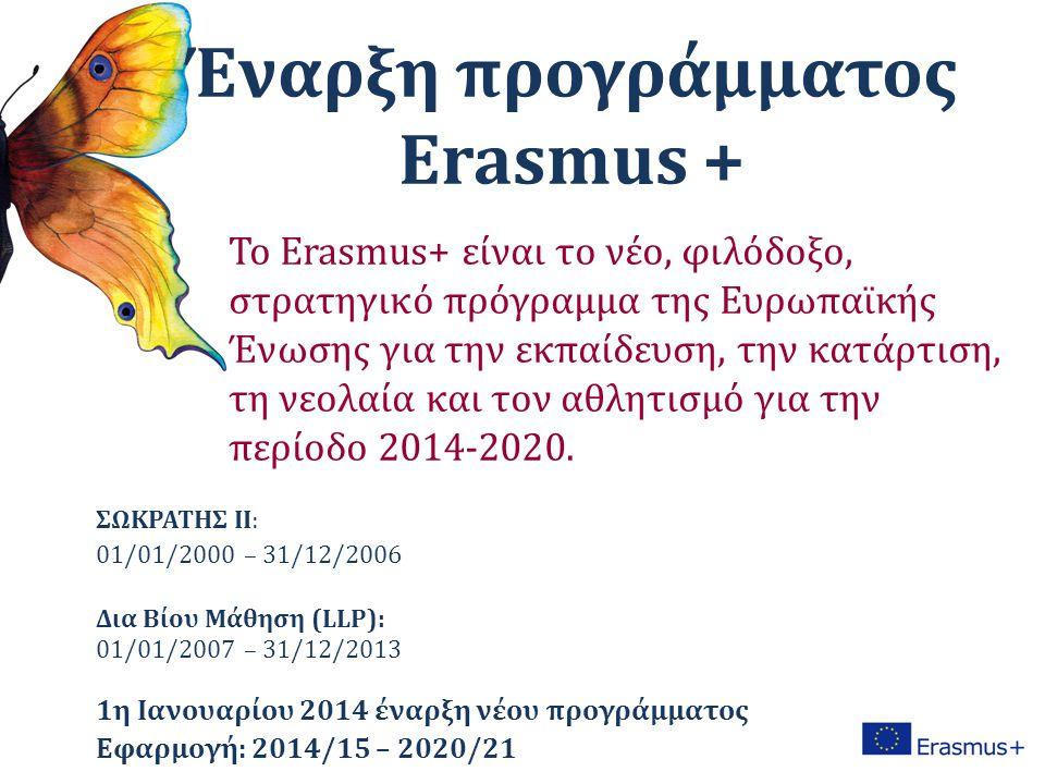 Έναρξη προγράμματος Erasmus + ΣΩΚΡΑΤΗΣ ΙΙ: 01/01/2000 – 31/12/2006 Δια Βίου Μάθηση (LLP): 01/01/2007 – 31/12/2013 1η Ιανουαρίου 2014 έναρξη νέου προγράμματος Εφαρμογή: 2014/15 – 2020/21 Το Erasmus+ είναι το νέο, φιλόδοξο, στρατηγικό πρόγραμμα της Ευρωπαϊκής Ένωσης για την εκπαίδευση, την κατάρτιση, τη νεολαία και τον αθλητισμό για την περίοδο 2014-2020.