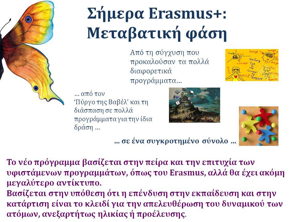 Σήμερα Erasmus+: Μεταβατική φάση Από τη σύγχυση που προκαλούσαν τα πολλά διαφορετικά προγράμματα… … από τον 'Πύργο της Βαβέλ' και τη διάσπαση σε πολλά προγράμματα για την ίδια δράση … … σε ένα συγκροτημένο σύνολο … Το νέο πρόγραμμα βασίζεται στην πείρα και την επιτυχία των υφιστάμενων προγραμμάτων, όπως του Erasmus, αλλά θα έχει ακόμη μεγαλύτερο αντίκτυπο.