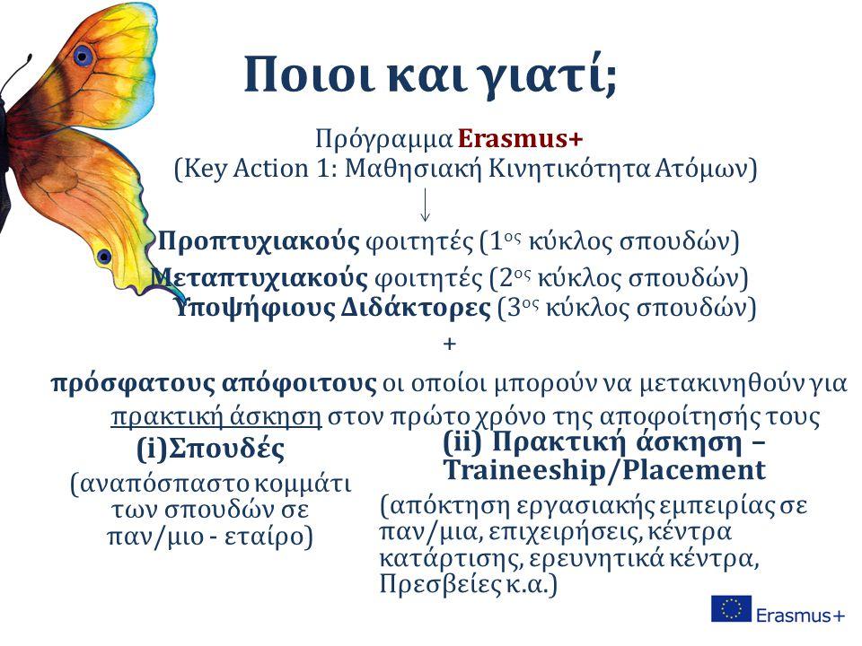 Ποιοι και γιατί; Πρόγραμμα Erasmus+ (Key Action 1: Mαθησιακή Κινητικότητα Ατόμων) Προπτυχιακούς φοιτητές (1 ος κύκλος σπουδών) Μεταπτυχιακούς φοιτητές (2 ος κύκλος σπουδών) Υποψήφιους Διδάκτορες (3 ος κύκλος σπουδών) + πρόσφατoυς απόφοιτους οι οποίοι μπορούν να μετακινηθούν για πρακτική άσκηση στον πρώτο χρόνο της αποφοίτησής τους (i)Σπουδές (αναπόσπαστο κομμάτι των σπουδών σε παν/μιο - εταίρο) (ii) Πρακτική άσκηση – Traineeship/Placement (απόκτηση εργασιακής εμπειρίας σε παν/μια, επιχειρήσεις, κέντρα κατάρτισης, ερευνητικά κέντρα, Πρεσβείες κ.α.)