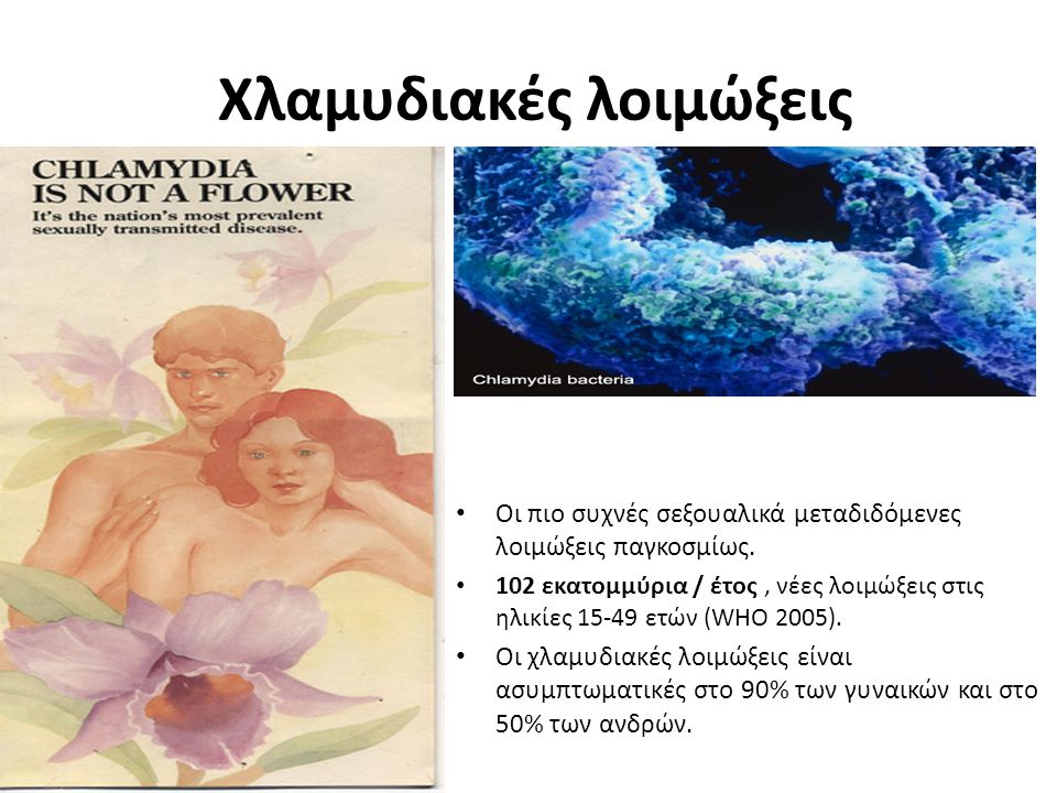 Χλαμυδιακές λοιμώξεις Οι πιο συχνές σεξουαλικά μεταδιδόμενες λοιμώξεις παγκοσμίως. 102 εκατομμύρια / έτος, νέες λοιμώξεις στις ηλικίες 15-49 ετών (WHO