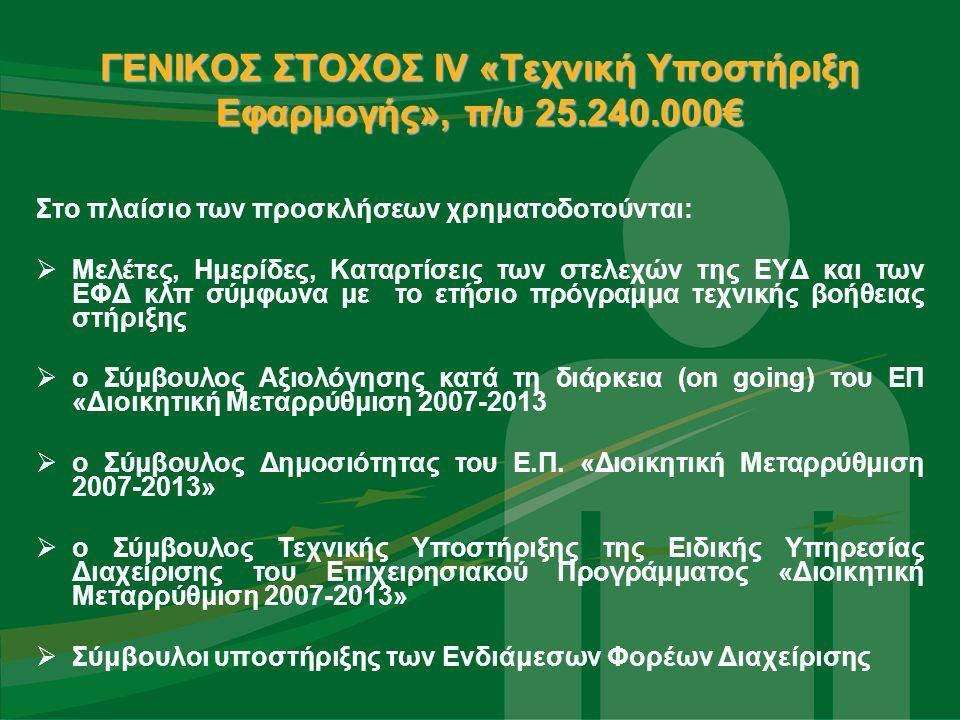 ΓΕΝΙΚΟΣ ΣΤΟΧΟΣ IV «Τεχνική Υποστήριξη Εφαρμογής», π/υ 25.240.000€ Στο πλαίσιο των προσκλήσεων χρηματοδοτούνται:  Μελέτες, Ημερίδες, Καταρτίσεις των στελεχών της ΕΥΔ και των ΕΦΔ κλπ σύμφωνα με το ετήσιο πρόγραμμα τεχνικής βοήθειας στήριξης  ο Σύμβουλος Αξιολόγησης κατά τη διάρκεια (on going) του ΕΠ «Διοικητική Μεταρρύθμιση 2007-2013  ο Σύμβουλος Δημοσιότητας του Ε.Π.