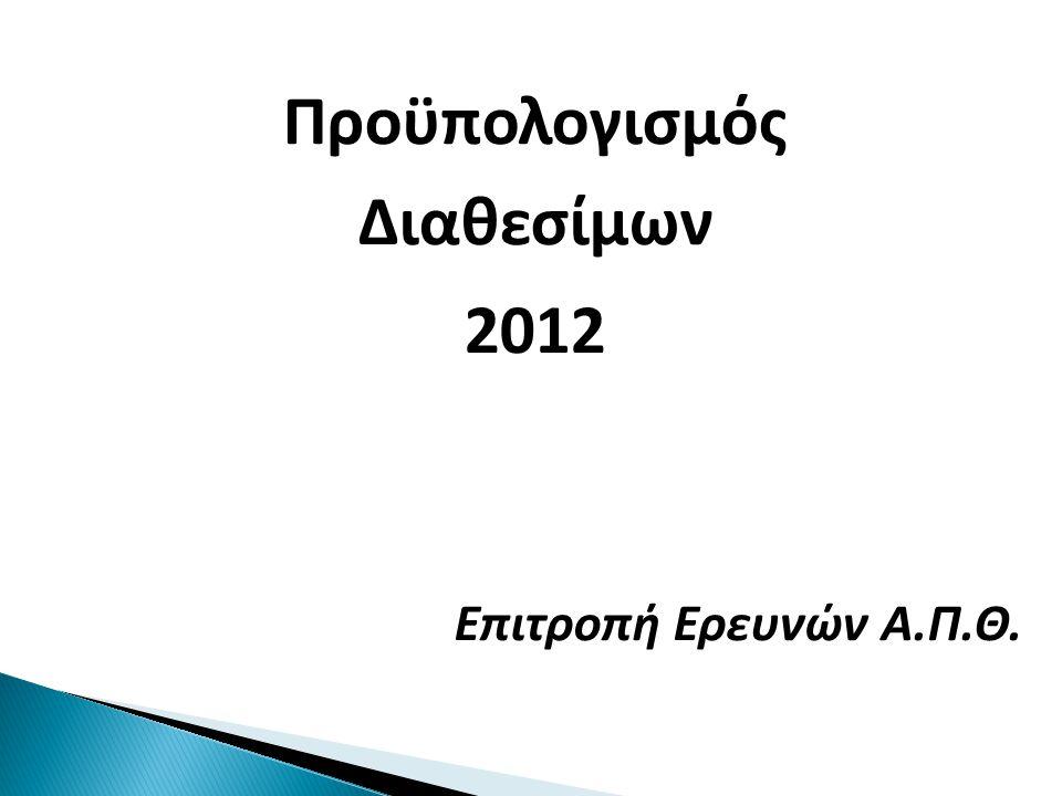 Προϋπολογισμός Διαθεσίμων 2012 Επιτροπή Ερευνών Α.Π.Θ.