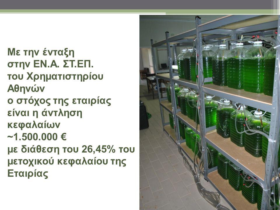 Με την ένταξη στην ΕΝ.Α. ΣΤ.ΕΠ. του Χρηματιστηρίου Αθηνών ο στόχος της εταιρίας είναι η άντληση κεφαλαίων ~1.500.000 € με διάθεση του 26,45% του μετοχ