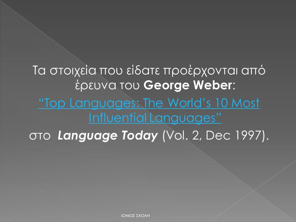 Τα στοιχεία που είδατε προέρχονται από έρευνα του George Weber : Top Languages: The World's 10 Most Influential Languages στο Language Today (Vol.