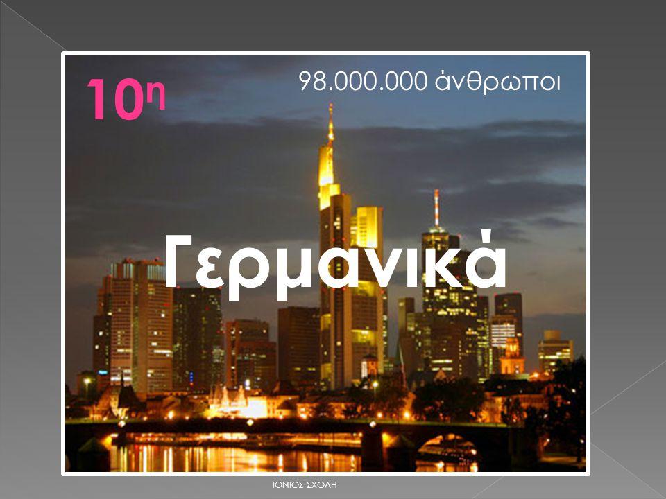 10 η Γερμανικά 98.000.000 άνθρωποι ΙΟΝΙΟΣ ΣΧΟΛΗ