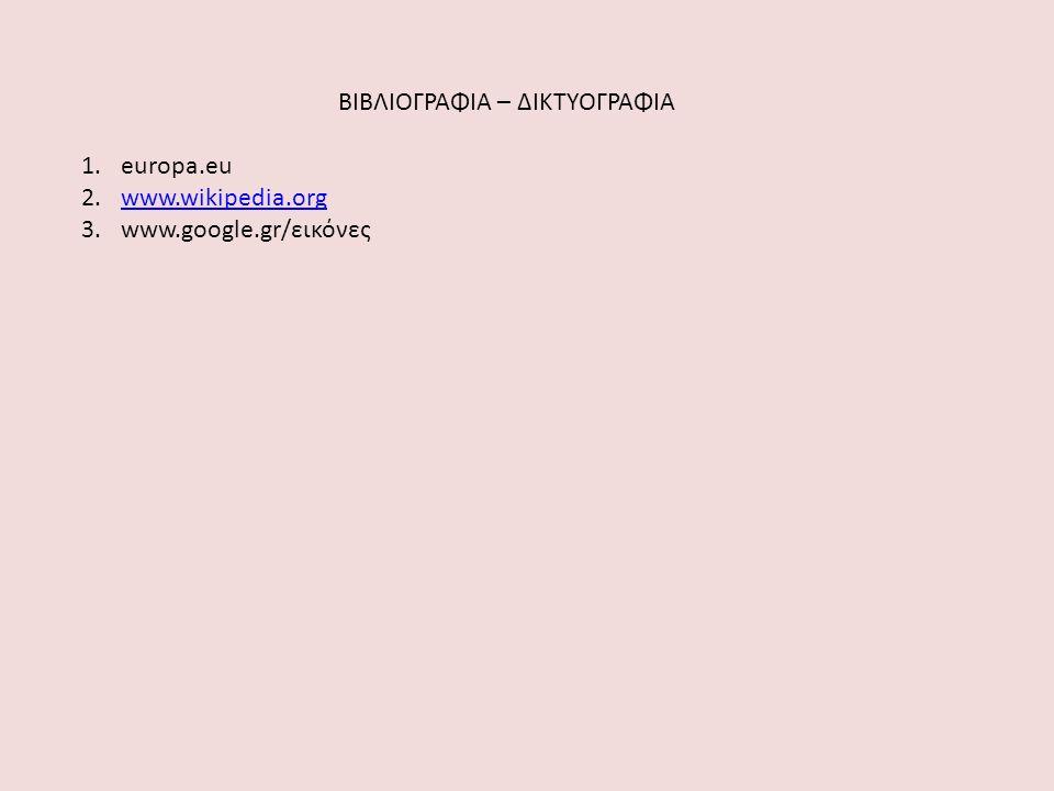 ΒΙΒΛΙΟΓΡΑΦΙΑ – ΔΙΚΤΥΟΓΡΑΦΙΑ 1.europa.eu 2.www.wikipedia.orgwww.wikipedia.org 3.www.google.gr/εικόνες