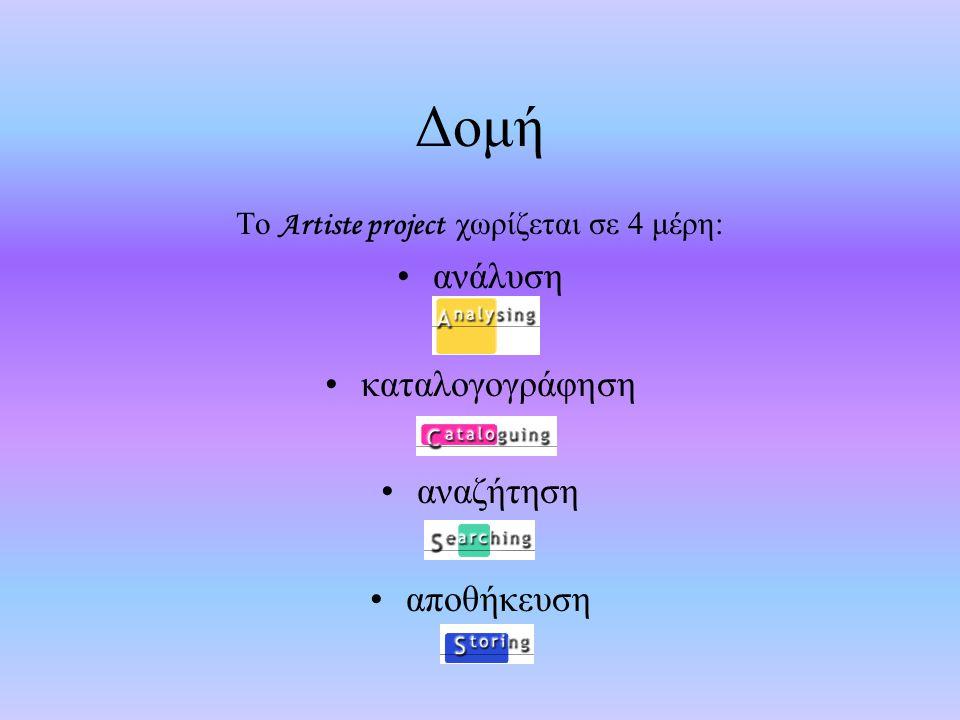 Δομή Το Artiste project χωρίζεται σε 4 μέρη: ανάλυση καταλογογράφηση αναζήτηση αποθήκευση