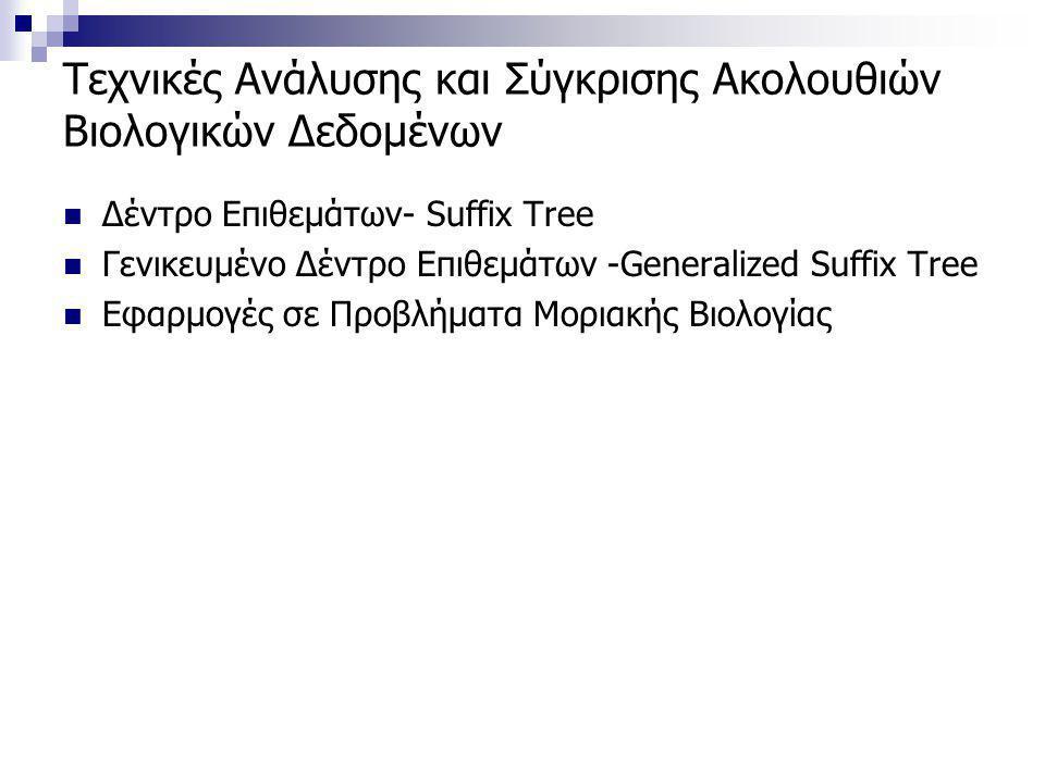 Τεχνικές Ανάλυσης και Σύγκρισης Ακολουθιών Βιολογικών Δεδομένων Δέντρο Επιθεμάτων- Suffix Tree Γενικευμένο Δέντρο Επιθεμάτων -Generalized Suffix Tree Εφαρμογές σε Προβλήματα Μοριακής Βιολογίας