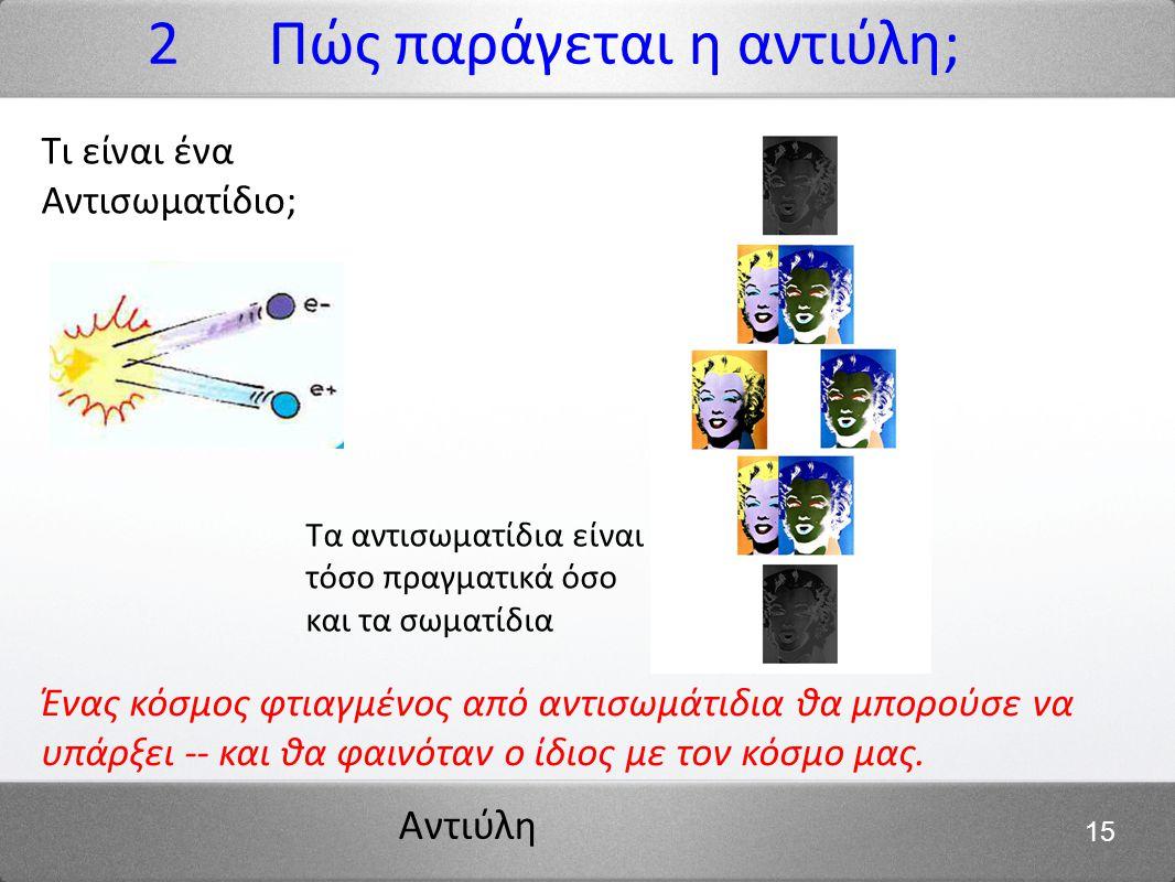 Αντιύλη 15 2 Πώς παράγεται η αντιύλη; Ένας κόσμος φτιαγμένος από αντισωμάτιδια θα μπορούσε να υπάρξει -- και θα φαινόταν ο ίδιος με τον κόσμο μας. Τα