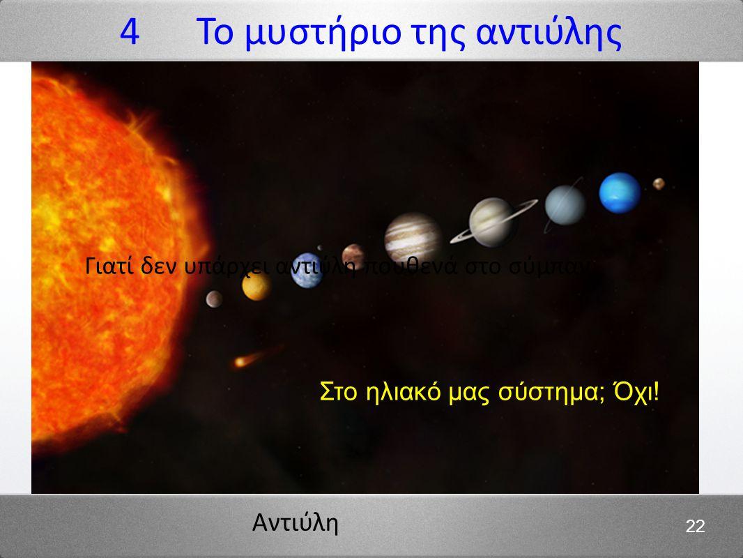 Αντιύλη 22 4 Το μυστήριο της αντιύλης Αντιύλη στο φεγγάρι; Όχι! Στο ηλιακό μας σύστημα; Όχι! Γιατί δεν υπάρχει αντιύλη πουθενά στο σύμπαν:
