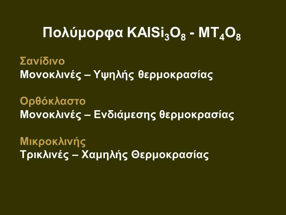 Πολύμορφα KAlSi 3 O 8 - MT 4 O 8 Σανίδινο Μονοκλινές – Υψηλής θερμοκρασίας Ορθόκλαστο Μονοκλινές – Ενδιάμεσης θερμοκρασίας Μικροκλινής Τρικλινές – Χαμ