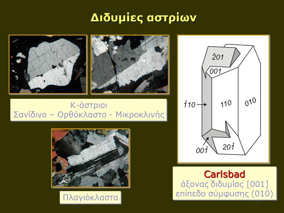 27 Διδυμίες αστρίων Carlsbad άξονας διδυμίας [001] επίπεδο σύμφυσης (010) Carlsbad άξονας διδυμίας [001] επίπεδο σύμφυσης (010) Κ-άστριοι Σανίδινο – Ορθόκλαστο - Μικροκλινής Κ-άστριοι ΠλαγιόκλασταΠλαγιόκλαστα