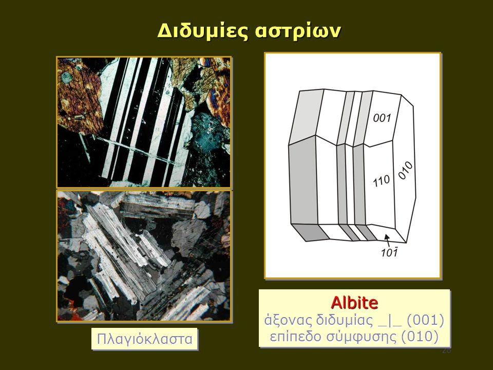 28 Διδυμίες αστρίων Albite άξονας διδυμίας _|_ (001) επίπεδο σύμφυσης (010) Albite άξονας διδυμίας _|_ (001) επίπεδο σύμφυσης (010) ΠλαγιόκλασταΠλαγιό