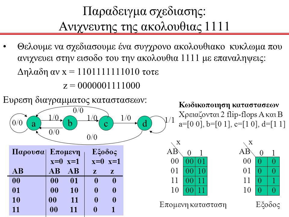 Παραδειγμα σχεδιασης: Ανιχνευτης της ακολουθιας 1111 Θελουμε να σχεδιασουμε ένα συγχρονο ακολουθιακο κυκλωμα που ανιχνευει στην εισοδο του την ακολουθ