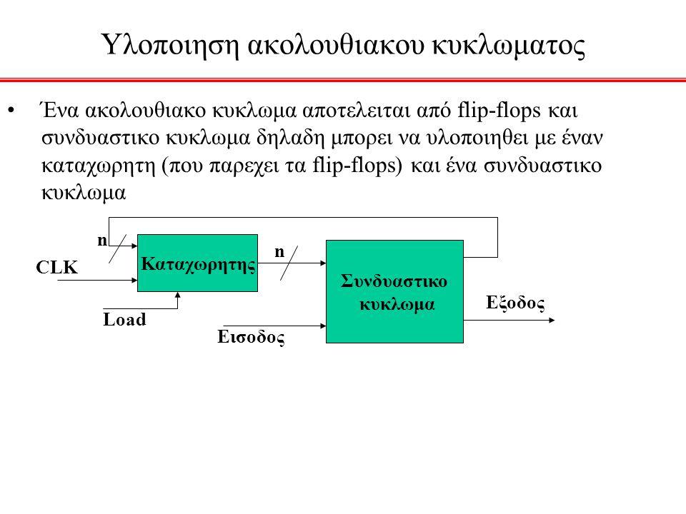 Υλοποιηση ακολουθιακου κυκλωματος Ένα ακολουθιακο κυκλωμα αποτελειται από flip-flops και συνδυαστικο κυκλωμα δηλαδη μπορει να υλοποιηθει με έναν καταχ