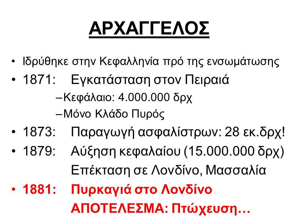 ΑΡΧΑΓΓΕΛΟΣ Ιδρύθηκε στην Κεφαλληνία πρό της ενσωμάτωσης 1871: Εγκατάσταση στον Πειραιά –Κεφάλαιο: 4.000.000 δρχ –Μόνο Κλάδο Πυρός 1873: Παραγωγή ασφαλίστρων: 28 εκ.δρχ.