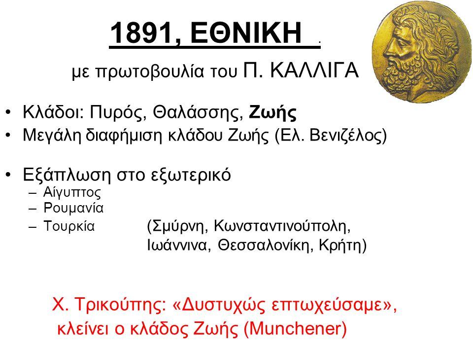 1891, ΕΘΝΙΚΗ. με πρωτοβουλία του Π. ΚΑΛΛΙΓΑ Κλάδοι: Πυρός, Θαλάσσης, Ζωής Μεγάλη διαφήμιση κλάδου Ζωής (Ελ. Βενιζέλος) Εξάπλωση στο εξωτερικό –Αίγυπτο