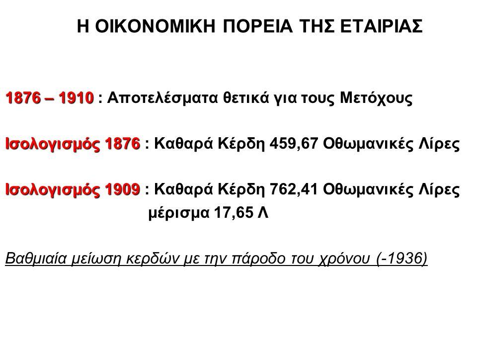 Η ΟΙΚΟΝΟΜΙΚΗ ΠΟΡΕΙΑ ΤΗΣ ΕΤΑΙΡΙΑΣ 1876 – 1910 : Αποτελέσματα θετικά για τους Μετόχους Ισολογισμός 1876 : Καθαρά Κέρδη 459,67 Οθωμανικές Λίρες Ισολογισμός 1909 : Καθαρά Κέρδη 762,41 Οθωμανικές Λίρες μέρισμα 17,65 Λ Βαθμιαία μείωση κερδών με την πάροδο του χρόνου (-1936)
