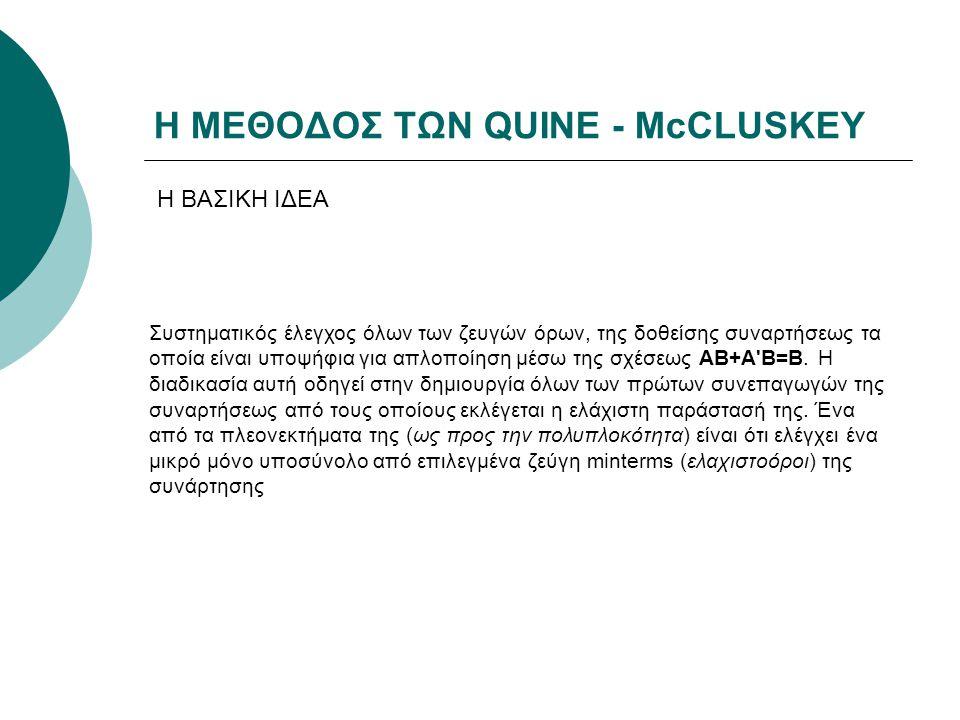 Η ΜΕΘΟΔΟΣ ΤΩΝ QUINE - McCLUSKEY Συστηματικός έλεγχος όλων των ζευγών όρων, της δοθείσης συναρτήσεως τα οποία είναι υποψήφια για απλοποίηση μέσω της σχ