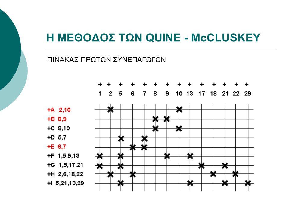 Η ΜΕΘΟΔΟΣ ΤΩΝ QUINE - McCLUSKEY ΠΙΝΑΚΑΣ ΠΡΩΤΩΝ ΣΥΝΕΠΑΓΩΓΩΝ