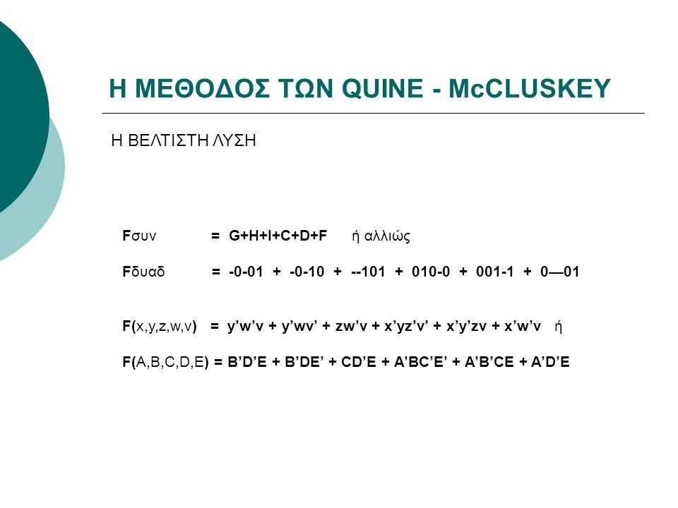 Η ΜΕΘΟΔΟΣ ΤΩΝ QUINE - McCLUSKEY Η ΒΕΛΤΙΣΤΗ ΛΥΣΗ Fσυν = G+H+I+C+D+F ή αλλιώς Fδυαδ = -0-01 + -0-10 + --101 + 010-0 + 001-1 + 0—01 F(x,y,z,w,v) = y'w'v