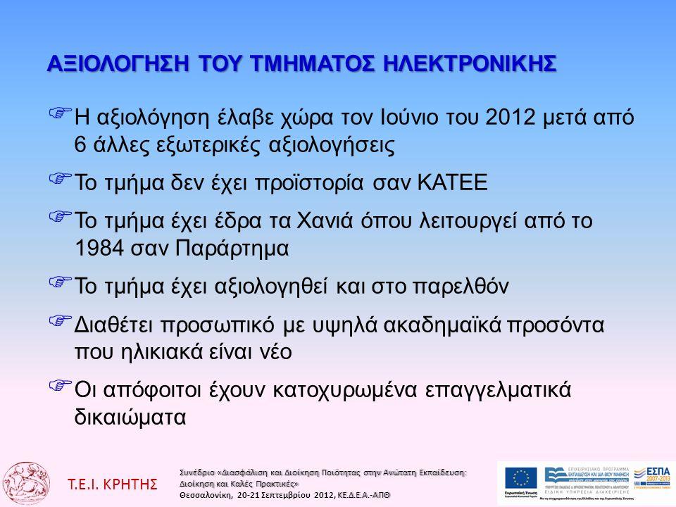Συνέδριο «Διασφάλιση και Διοίκηση Ποιότητας στην Ανώτατη Εκπαίδευση:Συνέδριο «Διασφάλιση και Διοίκηση Ποιότητας στην Ανώτατη Εκπαίδευση: Διοίκηση και Καλές Πρακτικές»Διοίκηση και Καλές Πρακτικές» ΚΕ.Δ.Ε.Α.-ΑΠΘΘεσσαλονίκη, 20-21 Σεπτεμβρίου 2012, ΚΕ.Δ.Ε.Α.-ΑΠΘ Τ.Ε.Ι.
