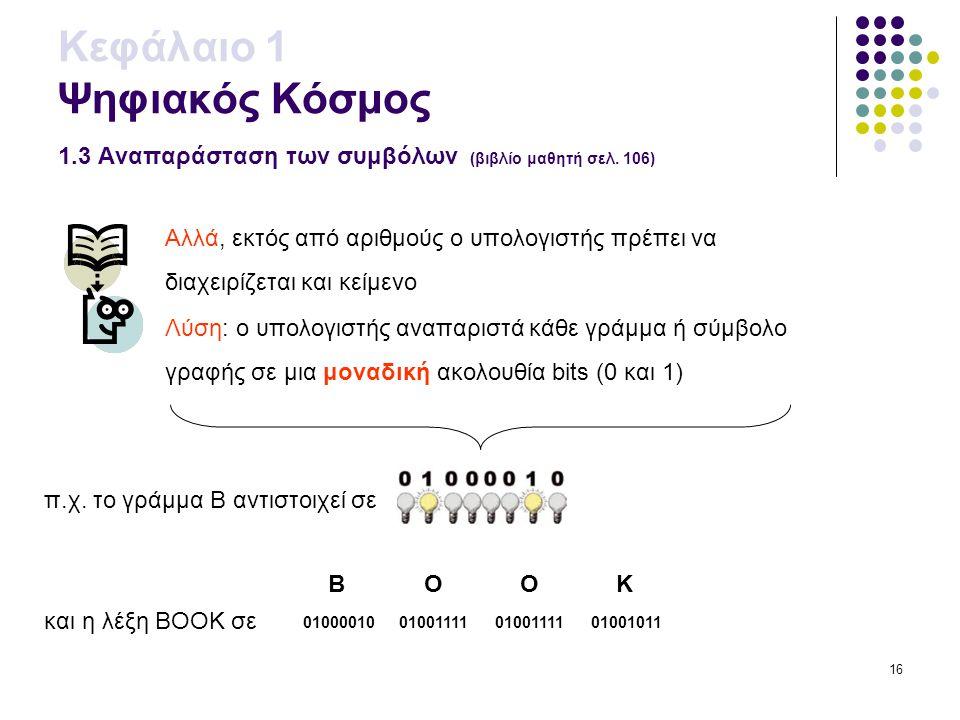 16 Κεφάλαιο 1 Ψηφιακός Κόσμος 1.3 Αναπαράσταση των συμβόλων (βιβλίο μαθητή σελ. 106) Αλλά, εκτός από αριθμούς ο υπολογιστής πρέπει να διαχειρίζεται κα