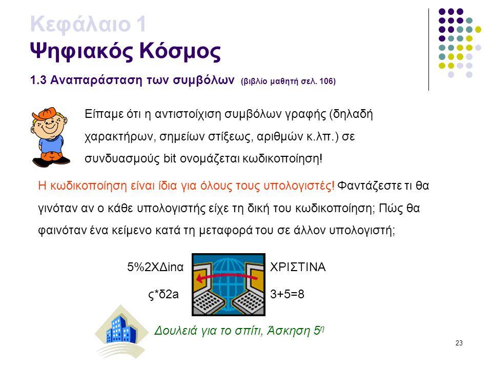 23 Κεφάλαιο 1 Ψηφιακός Κόσμος 1.3 Αναπαράσταση των συμβόλων (βιβλίο μαθητή σελ. 106) Είπαμε ότι η αντιστοίχιση συμβόλων γραφής (δηλαδή χαρακτήρων, σημ