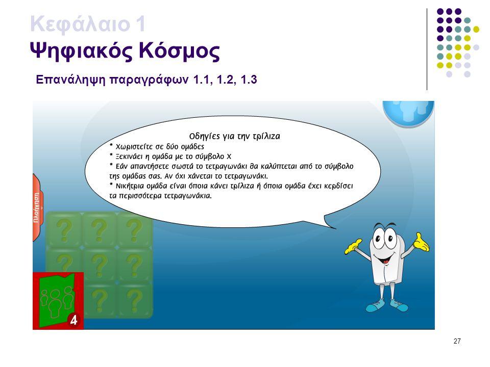 27 Κεφάλαιο 1 Ψηφιακός Κόσμος Επανάληψη παραγράφων 1.1, 1.2, 1.3