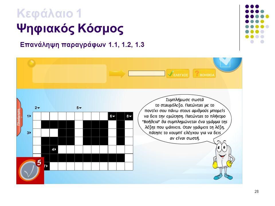 28 Κεφάλαιο 1 Ψηφιακός Κόσμος Επανάληψη παραγράφων 1.1, 1.2, 1.3