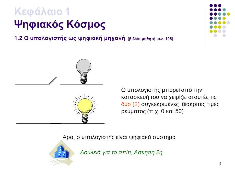 9 Δουλειά για το σχολείο, Φύλλο εργασίας 1ο Κεφάλαιο 1 Ψηφιακός Κόσμος 1.2 Ο υπολογιστής ως ψηφιακή μηχανή (βιβλίο μαθητή σελ.