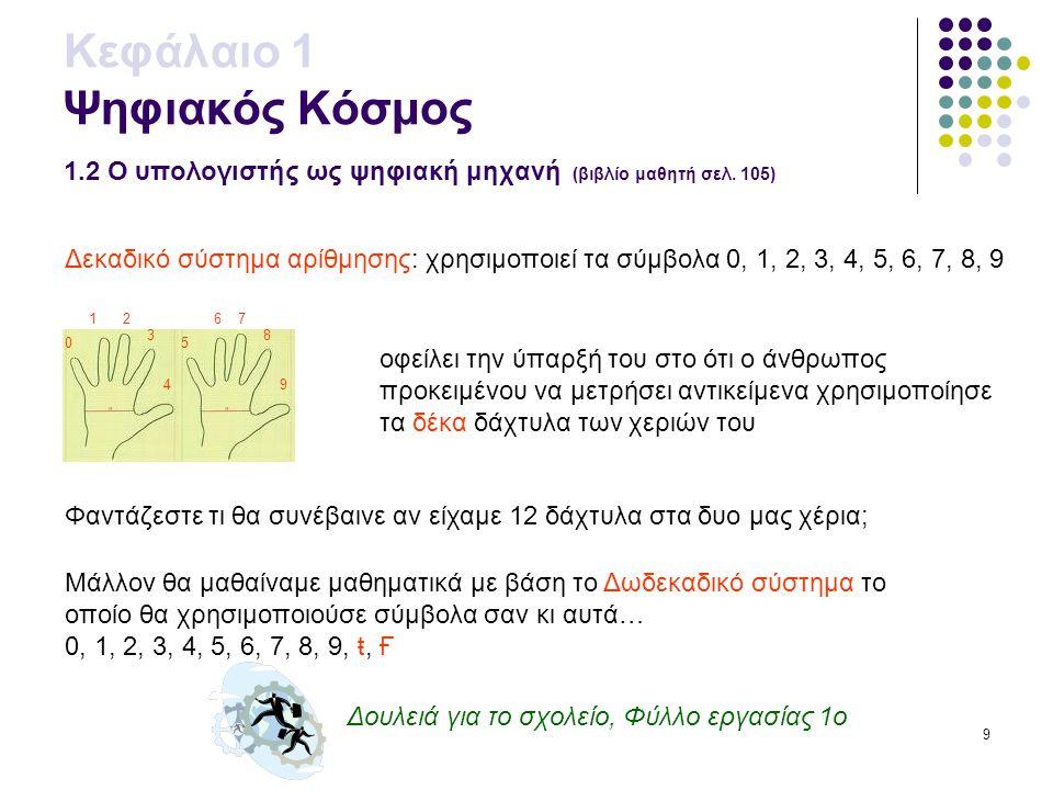 9 Δουλειά για το σχολείο, Φύλλο εργασίας 1ο Κεφάλαιο 1 Ψηφιακός Κόσμος 1.2 Ο υπολογιστής ως ψηφιακή μηχανή (βιβλίο μαθητή σελ. 105) 0 12 3 4 5 67 8 9