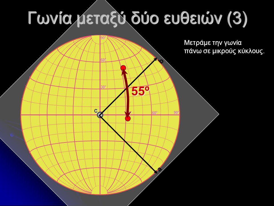 Γωνία μεταξύ δύο ευθειών (3) 0°0°0°0° 30°30°30°30° 60°60°60°60° 30°30°30°30° 60°60°60°60° 90°90°90°90° 90°90°90°90° c Μετράμε την γωνία πάνω σε μικρού